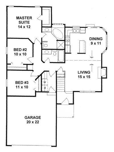 Plan 1208 3 Bedroom 2 Bath Narrow Lot Ranch Traditional House Plans Cottage House Plans Cottage Plan