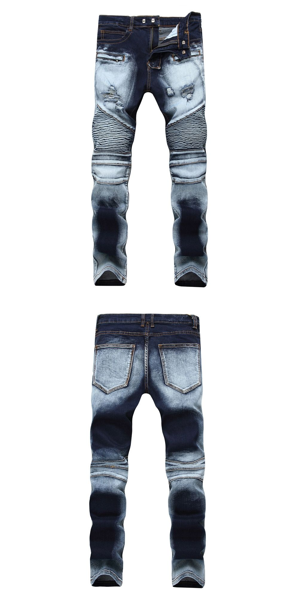 2018 New Dropshipping Ripped Biker Jeans Men Skinny Elastic Pleated Denim  Jeans Stretch Motorcycle Denim Pants Plus Size 6c646af1b533