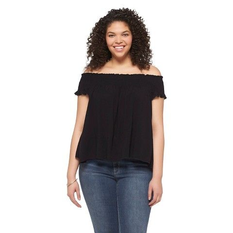 Women's Plus Size Off the Shoulder Top Black - Mossimo Supply Co ...