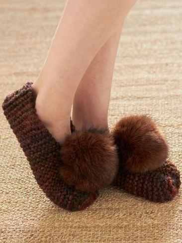 Basic Chunky Slippers Free Knitting Patternose Pom Poms