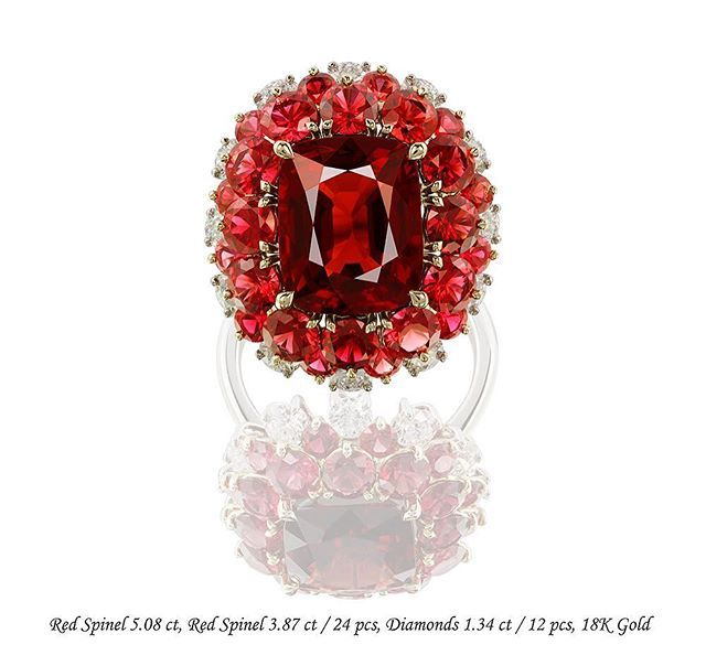IVY New York Flower of Red Spinels and Diamonds!