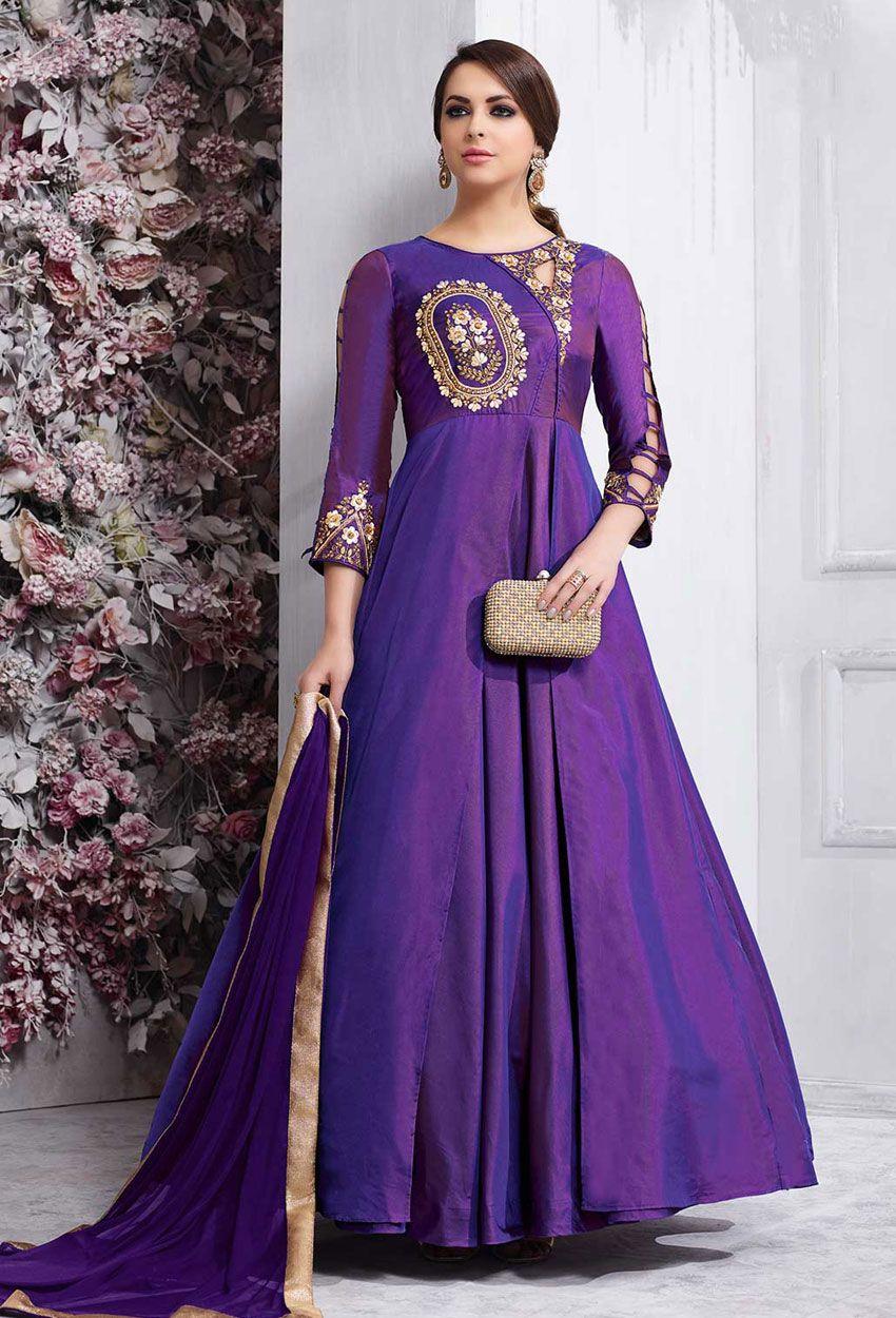 18f271557c909 Violet Taffeta Silk Anarkali Suit in 2019 | Zari Work Salwar Kameez ...