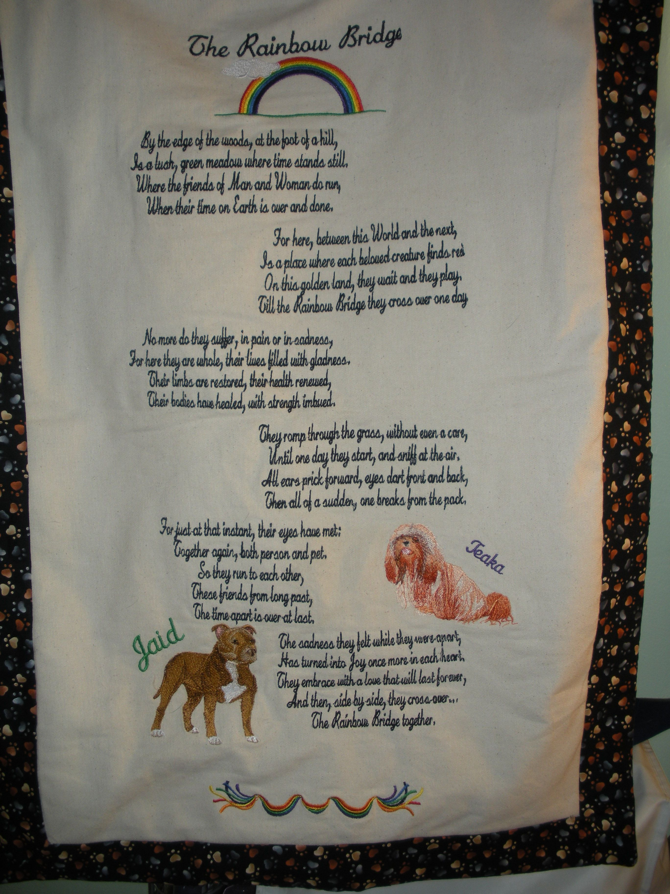 very first Rainbow Bridge poem, digitized and embroidered for a great couple