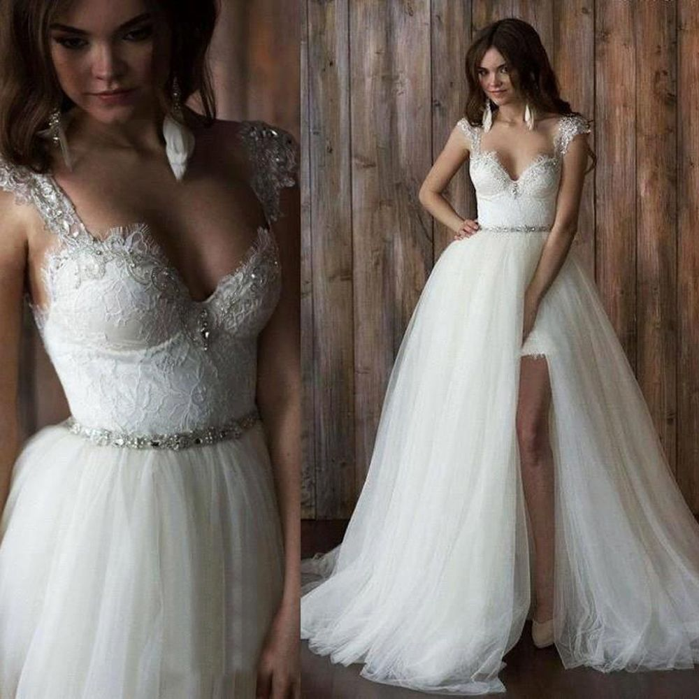 Wedding dress with short front and long back  Sexy Detachable Skirt Wedding Dress Two Piece Backless Lace Bridal
