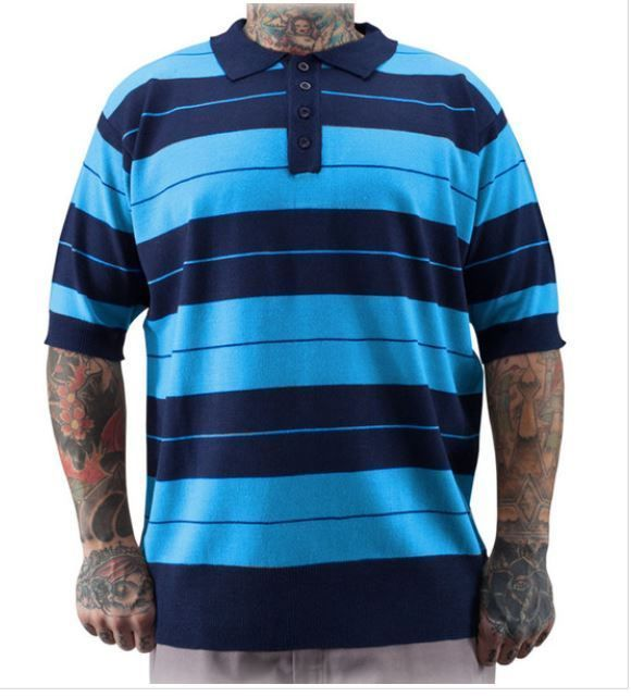 eda21c957 CHARLIE BROWN MENS POLO SHIRT BLUE/NAVY DYSE ONE CHICANO RAP ...