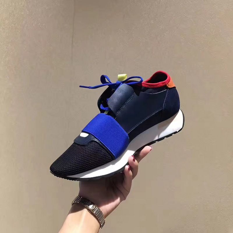eadb3b513b798 Discount Balenciaga Race Runners Multimaterial Contrasted Runners New Style  Black Blue For Sale