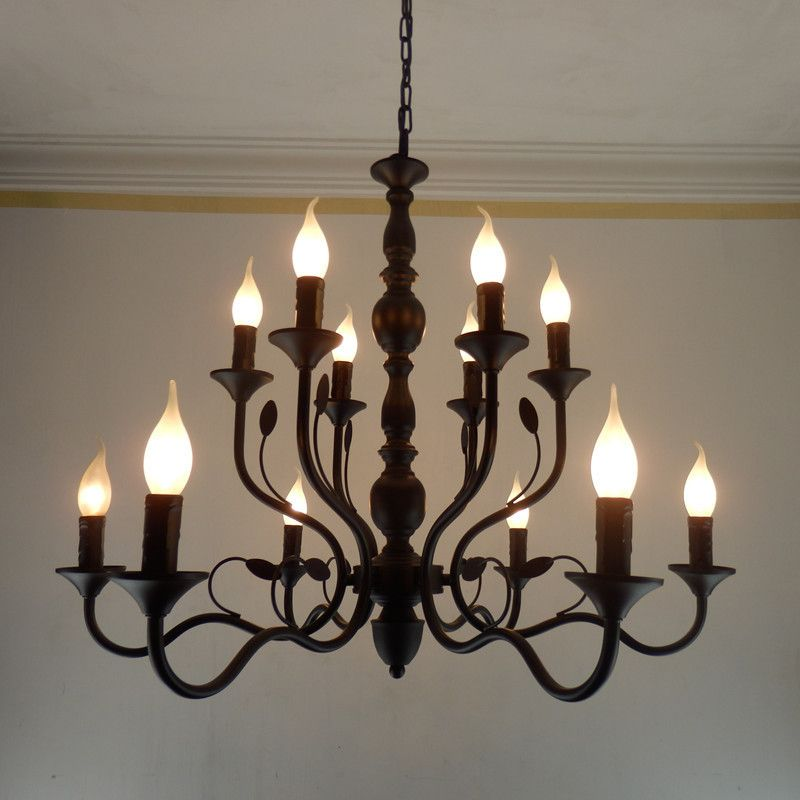 Luxury Rustic Wrought Iron Chandelier E14 Candle Black