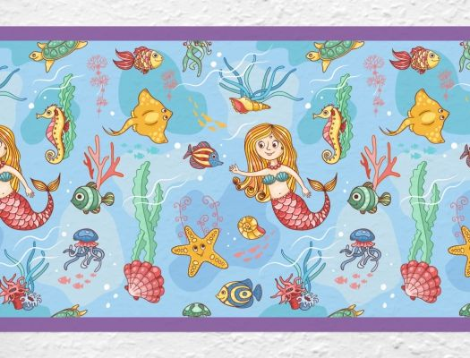 kinderzimmer bord re meerjungfrau in der unterwasserwelt. Black Bedroom Furniture Sets. Home Design Ideas