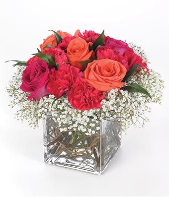 Rose Arrangements In Square Vases Red Roses And Orange Roses In