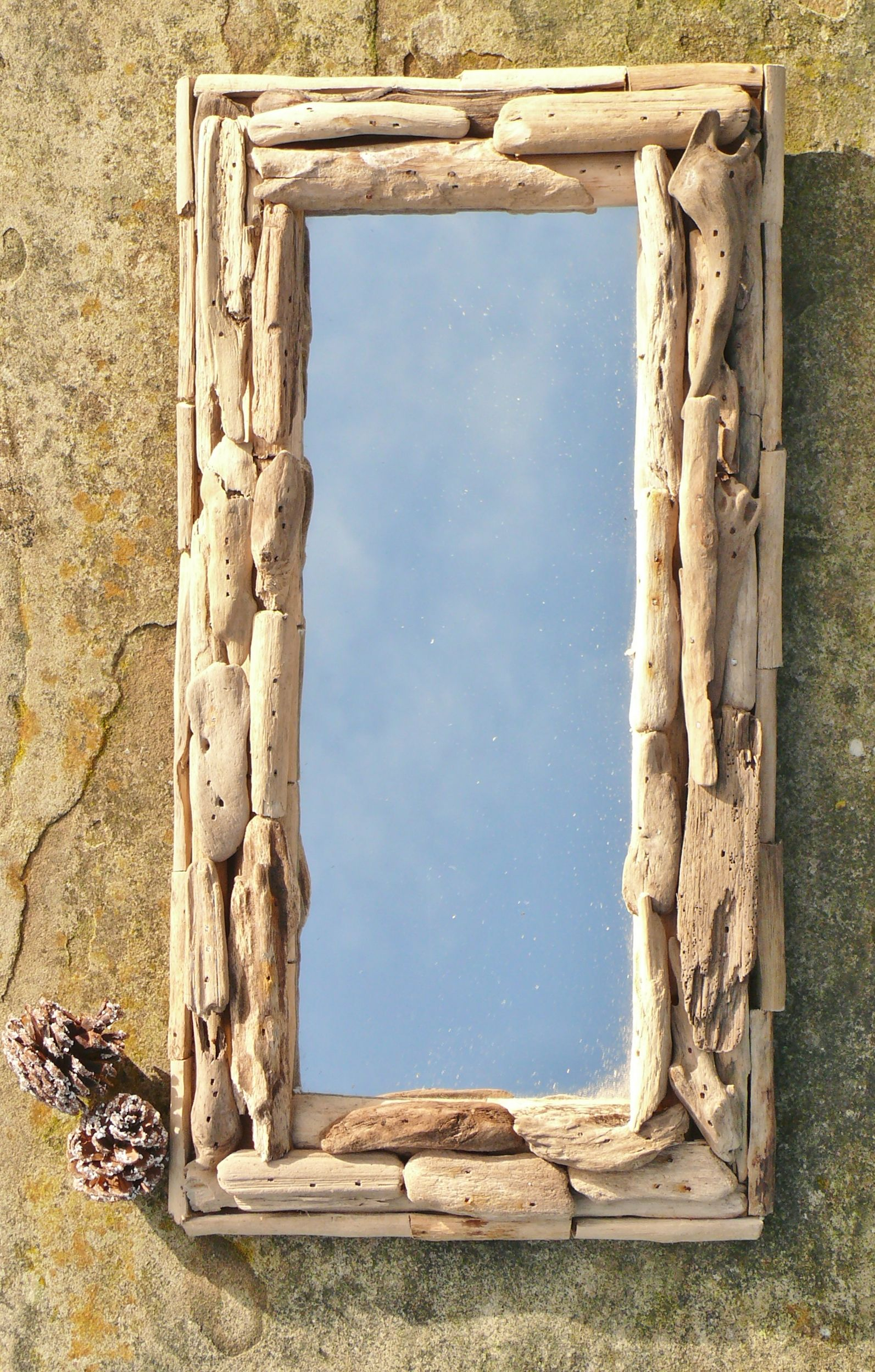 Charming driftwood mirror to fill a nook or cranny in your home