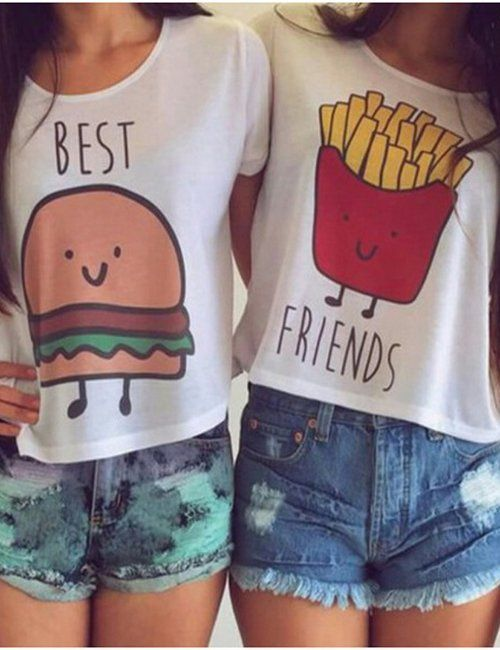 1a9e5596b Women's Casual Best Friends Printed T-Shirts   Fashion Trends   Best ...