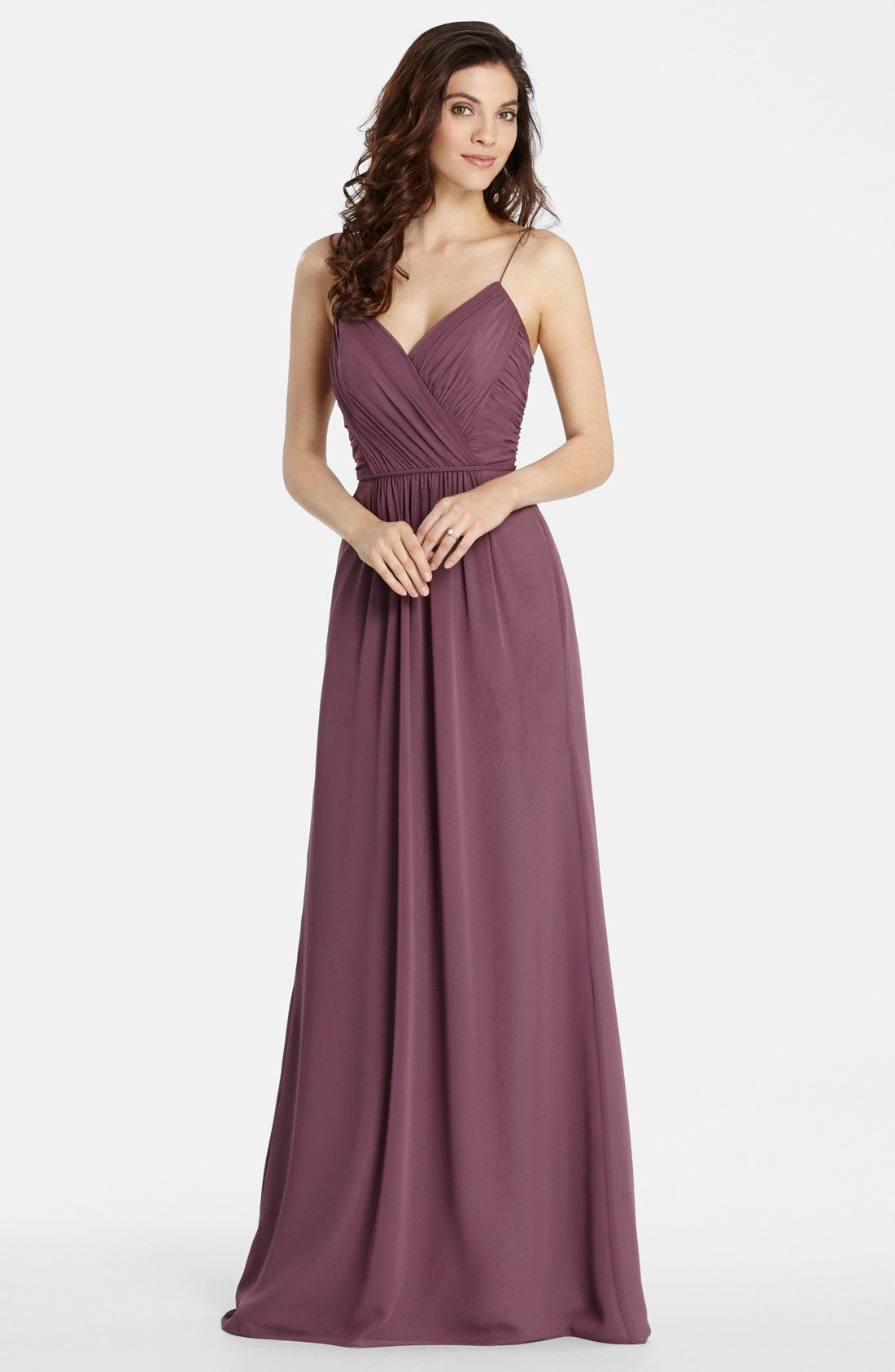 Jim Hjelm Occasions \'Luminescent\' Draped V-Neck A-Line Chiffon Gown ...
