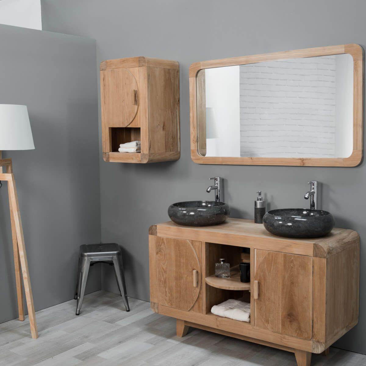 Meuble de salle de bain en teck rétro 120cm | salle de bain | Meuble ...