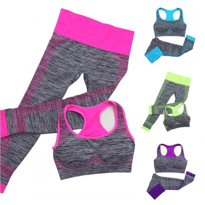 dbee934a13a 2pcs Women Yoga Sport Sets Fitness Stretch Seamless Bra Tank Top+Pants  Leggings Set Gym