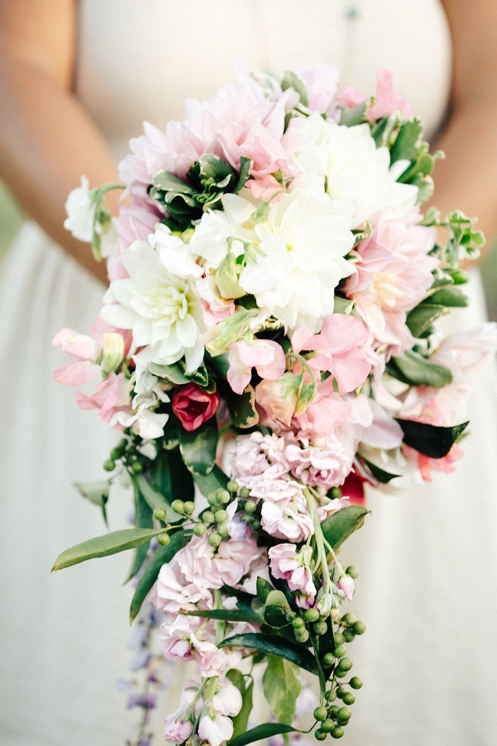 Cascading bridal bouquet local and fresh cascading