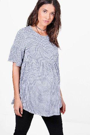 6a462a33d81e1 #boohoo Hailey Gingham Smock Top - blue BZZ49597 #Maternity Hailey Gingham  Smock Top -
