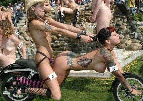 Topless biker chick