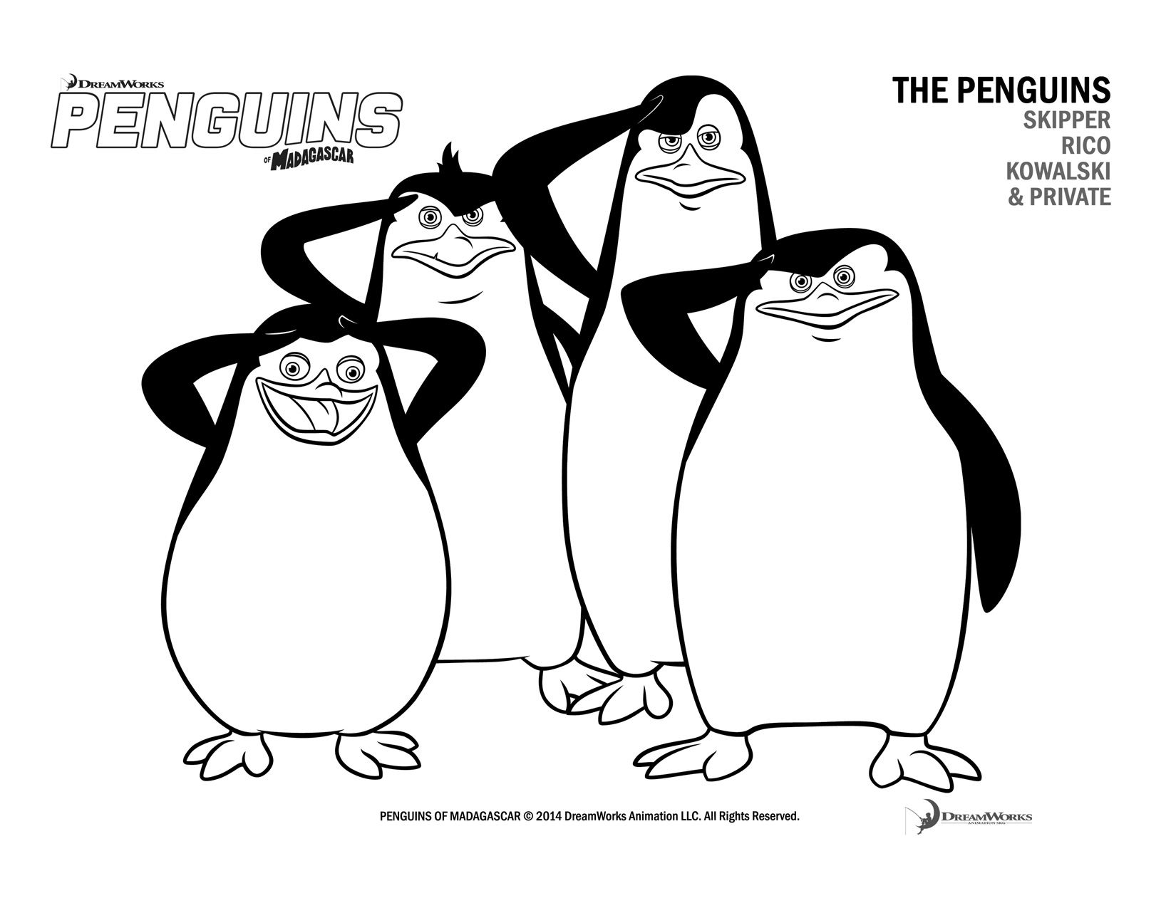 Madagascar Penguins Cartoon Coloring Pages Coloring Pages