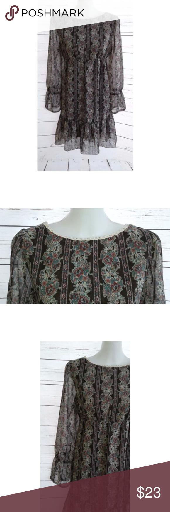 Floral empire waist dress long sleeve medium pinterest arm pits