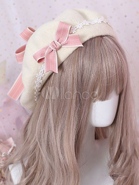 8e1c8d8f19d6f Sweet Lolita Beret Bow Floral Wool Lolita Hat  Beret