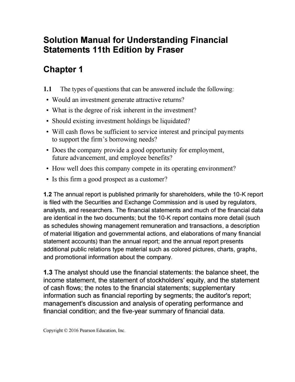 Link full download solution manual for understanding financial statements 11th  edition by fraser Financial Statement,