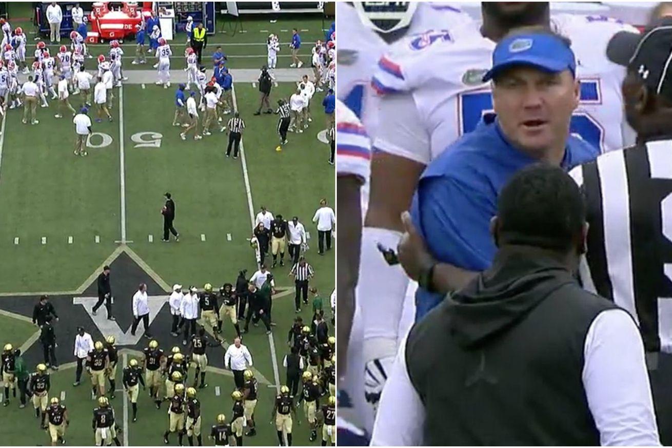 Florida and Vanderbilt head coaches screaming at each