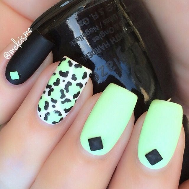 Black leopart print on lightcyan nails | Frases | Pinterest ...