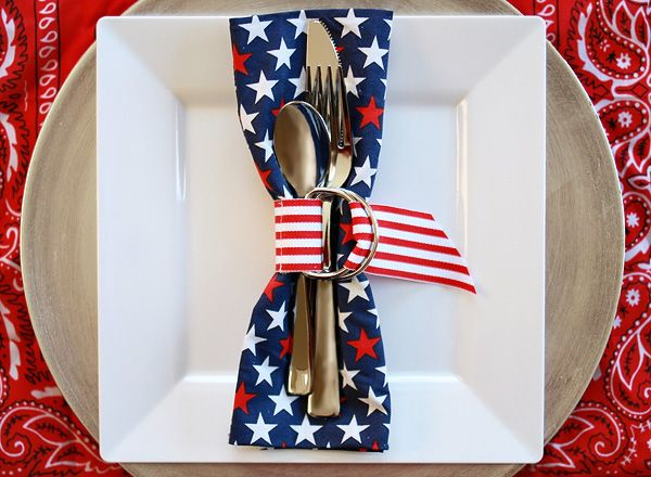 Adorable Napkin and Flatware with Ribbon Belt Napkin Ring