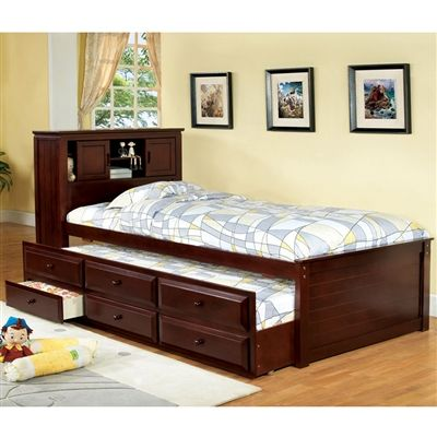 South Land Captain Bed Bookcase Headboard Three Drawers Solid Wood