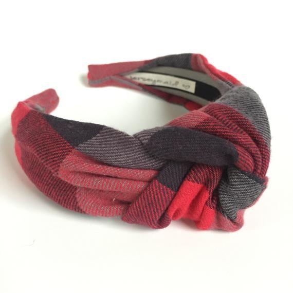df47acf03b288 Buffalo Plaid Top knot headband red black & gray 40's vintage style ...