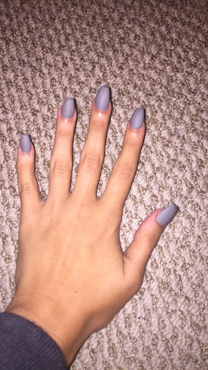 Matte Grey Coffin Nails Done Lee Spa Nails In Lakeland Fl 33803