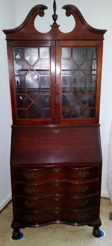 Vintage Secretary Desk Enclosed Bookshelf Pull Down Desk Antique Claw Feet  #Victorian #Unknown - Vintage Secretary Desk Enclosed Bookshelf Pull Down Desk Antique