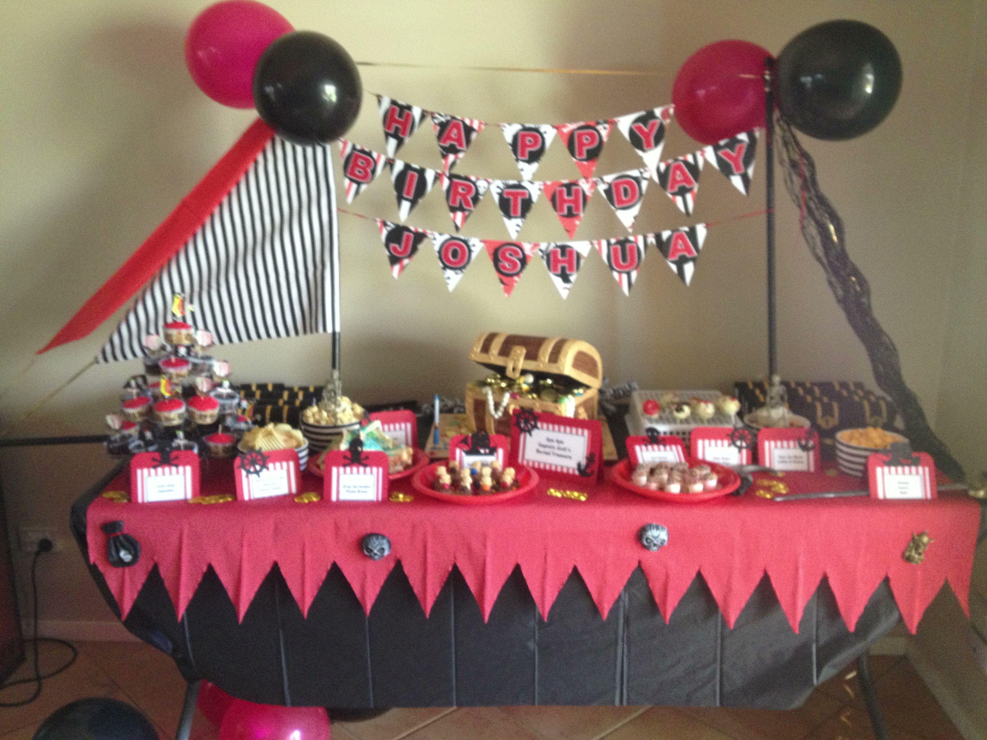 Joshua's Pirate Birthday dessert table