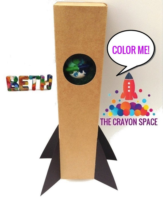 Glitter Crayons Kids Name Crayons Personalized Gift Set in Cute Rocket Ship Gift Box