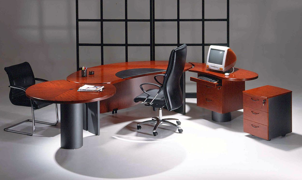 New contemporary cherry wood executive office desk utm1 for Modern desks for home office