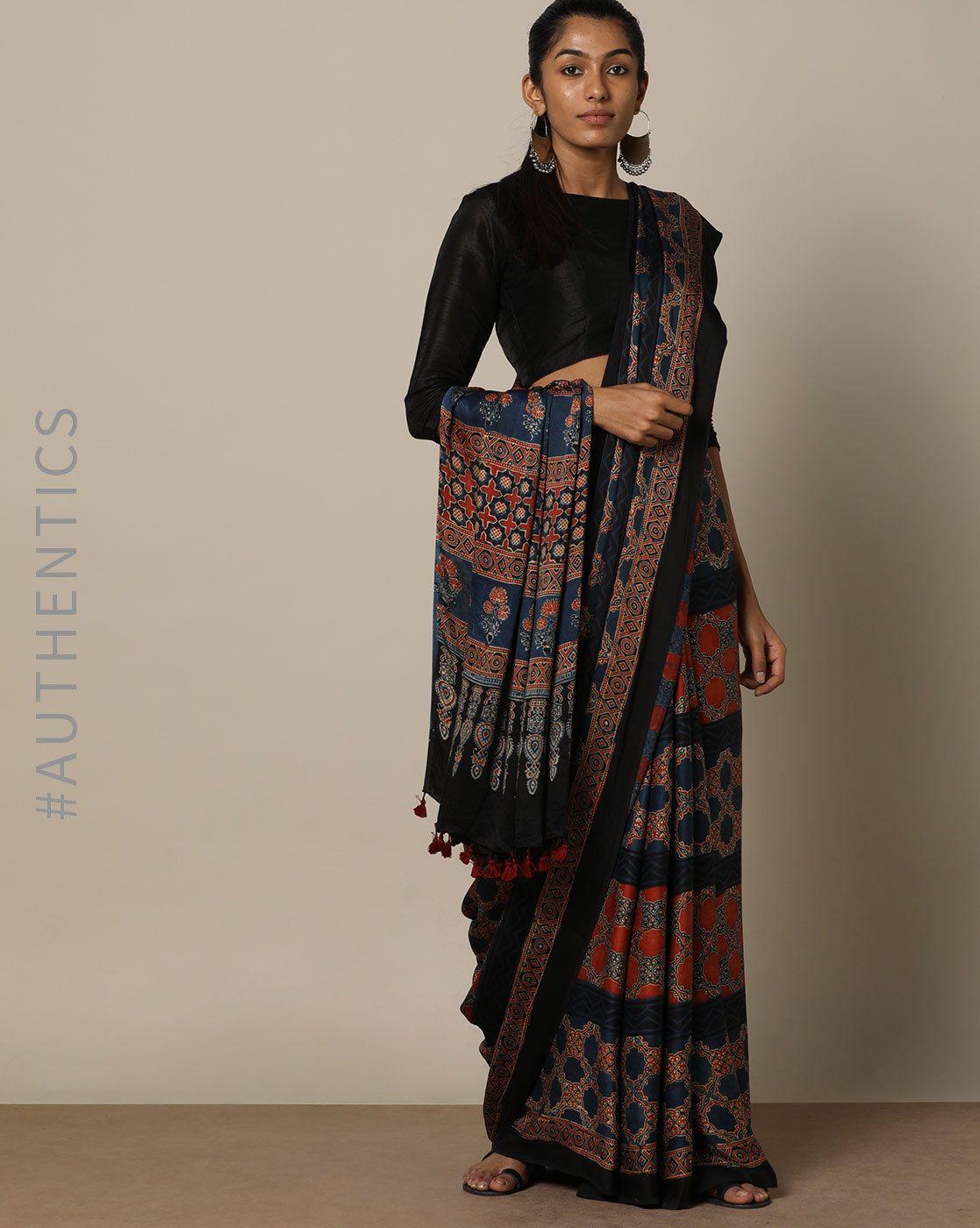 fcfb2484020a2c Buy Indie Picks Women Blue & Red Handblock Print Ajrak Modal Saree   AJIO