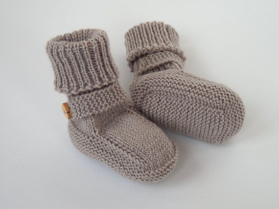 6c98202d77e30 SALE 40% OFF/ Ready to ship/ Hand knitted baby booties beige color/ Size 3-6  months
