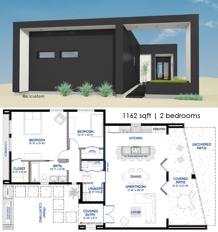 1162 small modern house plan courtyard house plans for Contemporary floor plans for new homes