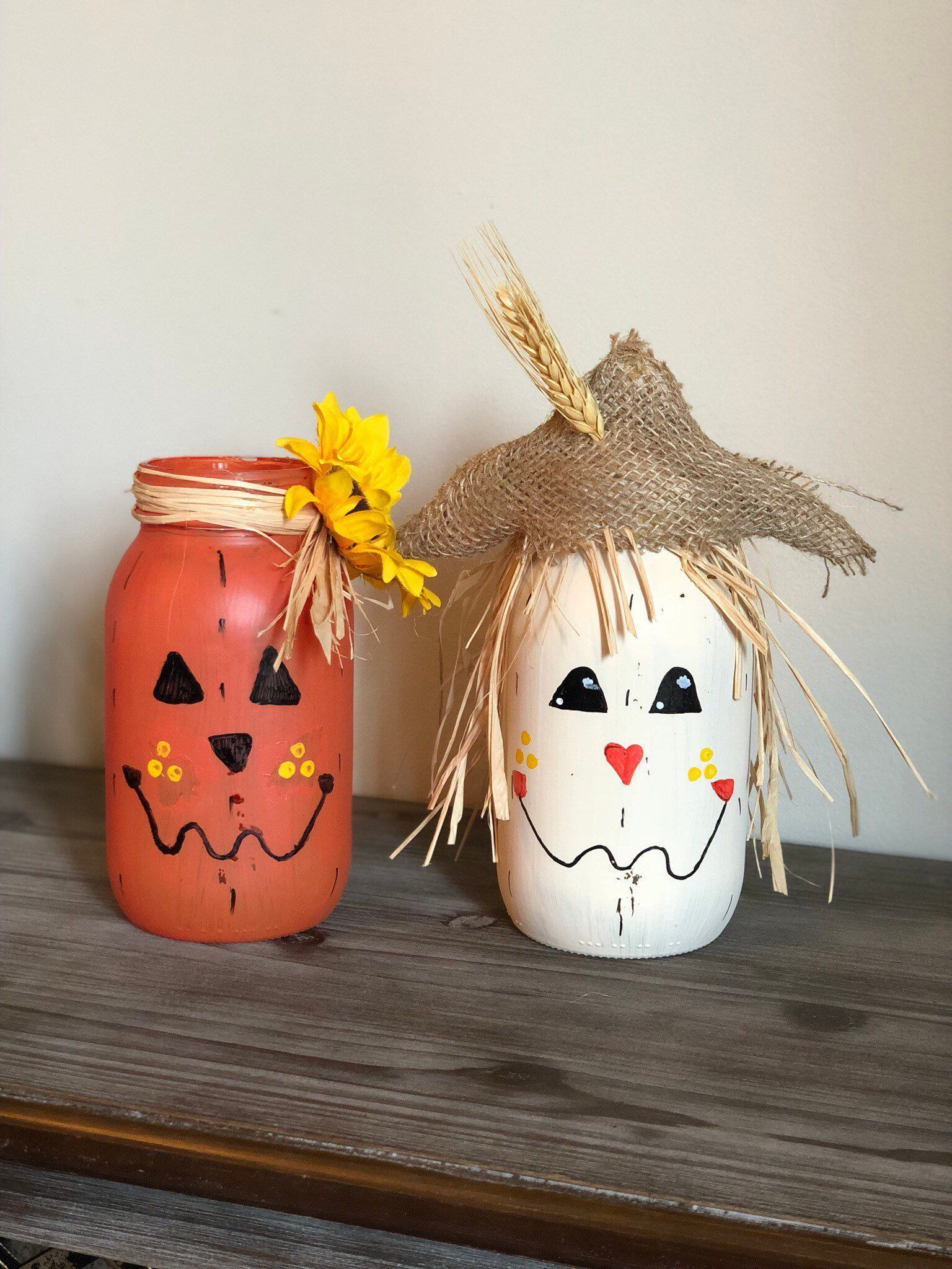 Fall decor, pumpkin decor, scarecrow decor, rustic, country, halloween, decorations, mason jar decor