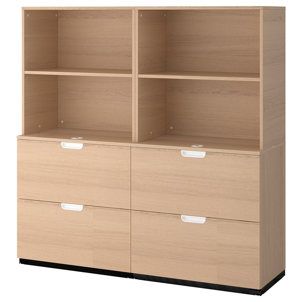 Storage Combination With Filing White Stained Oak Veneer 63x63 Caisson A Tiroirs Meuble Rangement Et Rangement