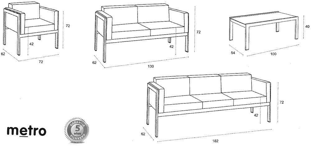 V sofa metro 1000 471 medidas pinterest for Medidas de sillones