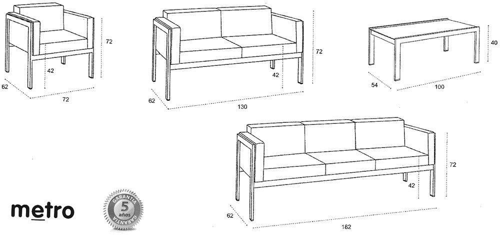 V sofa metro 1000 471 medidas pinterest - Medidas de sofas chaise longue ...