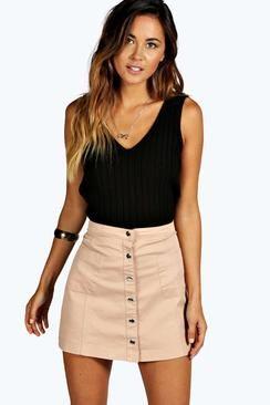 Bella Button Front Mini Skirt