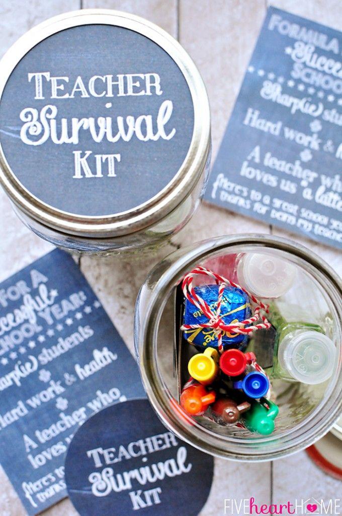 Back to School Teacher Survival Kit Free Printables ~ Mason jar teacher gift featuring Sharpies, hand sanitizer, Starbucks gift card, and chocolate   FiveHeartHome.com