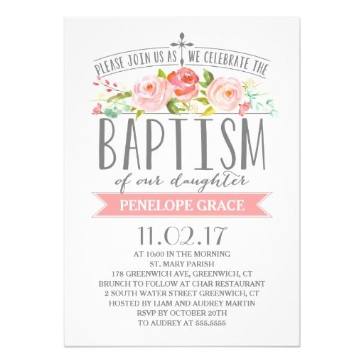Rose banner girl baptism invitation baptism invitations banners rose banner girl baptism invitation stopboris Image collections