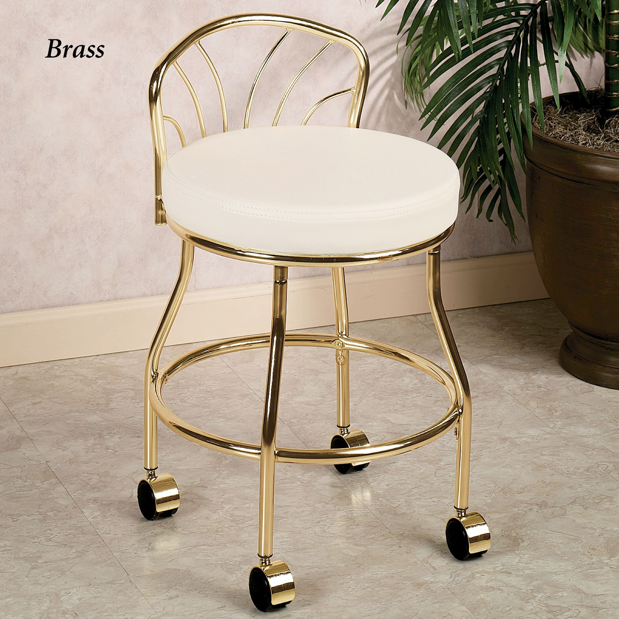 Flare back metallic finish vanity chair with casters with