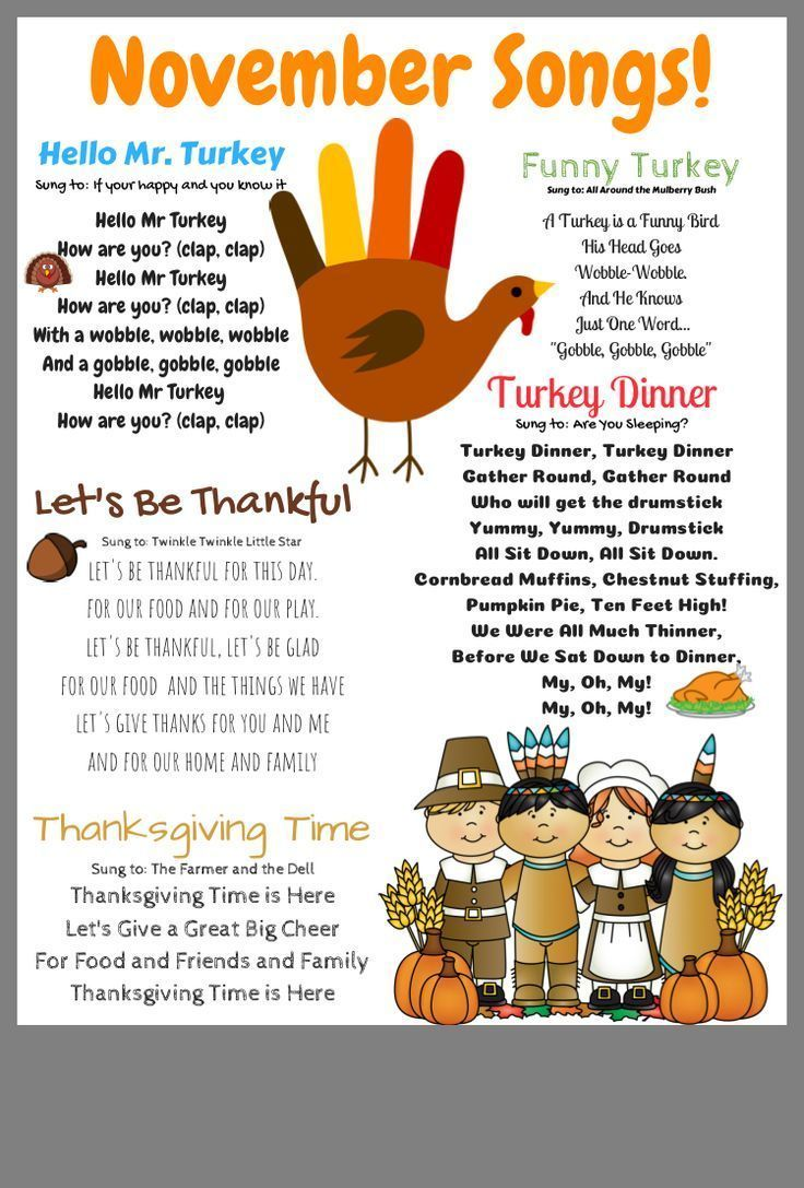November Songs For Transitional Kindergarten.  D7C