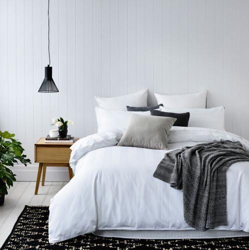 Mercer Reid 1000tc Cotton Stripe Quilt Cover Bed Linens Luxury Minimalist Bedroom Decor Bed Styling