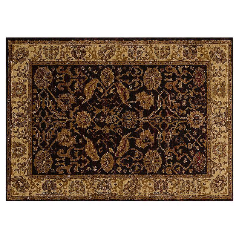 United Weavers Affinity Persian Canvas Framed Floral Rug, Black