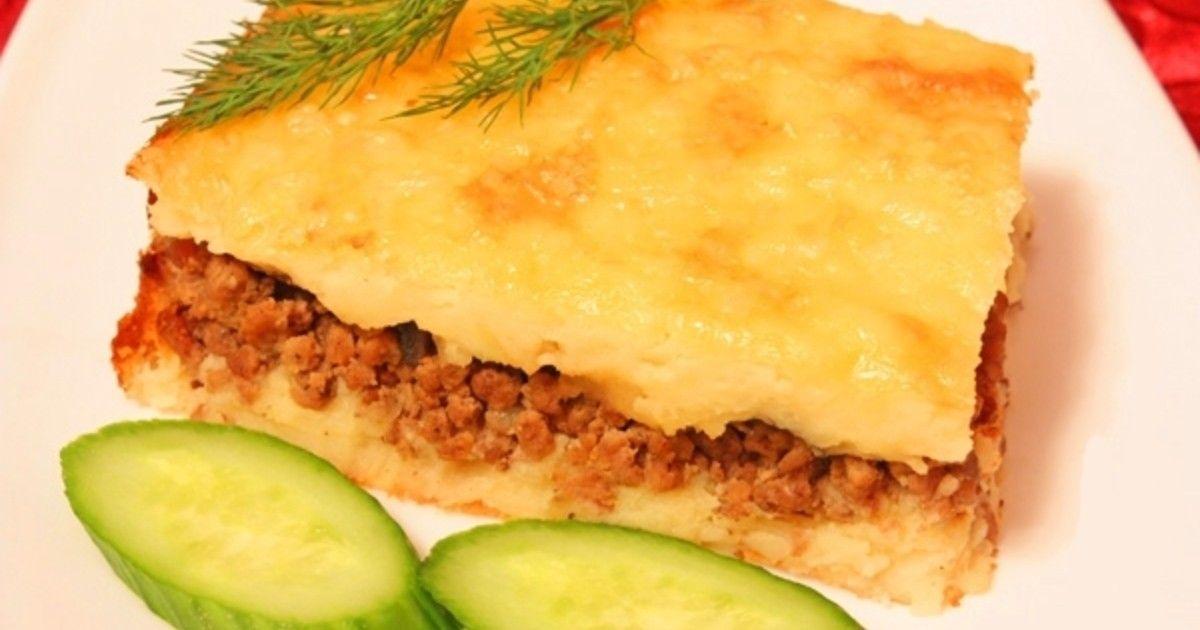 Картофельная запеканка с фаршем и сыром в духовке рецепт с ...
